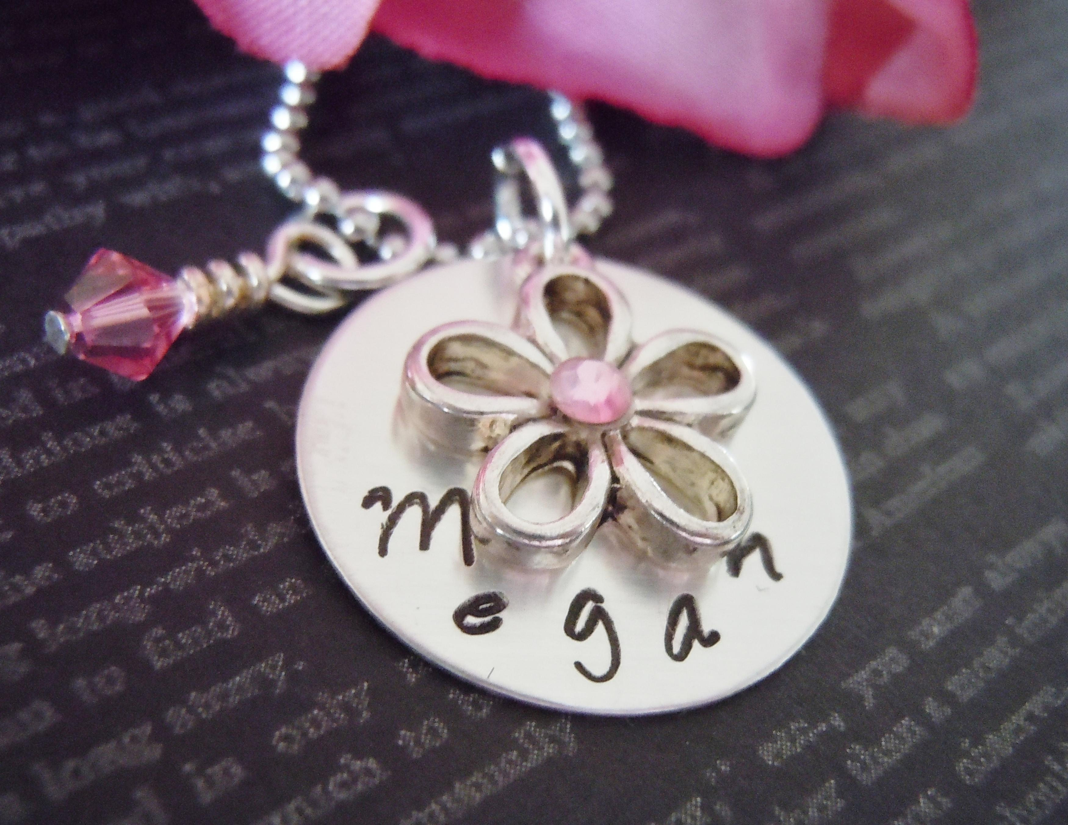 Personalized Flower Girl Junior Bridesmaid Necklace Flower Girl Gifts Hand
